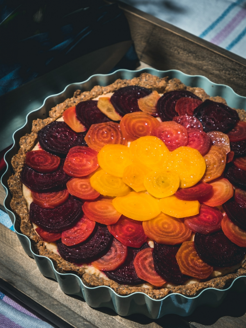 Vegan Tart with Beans and Beets